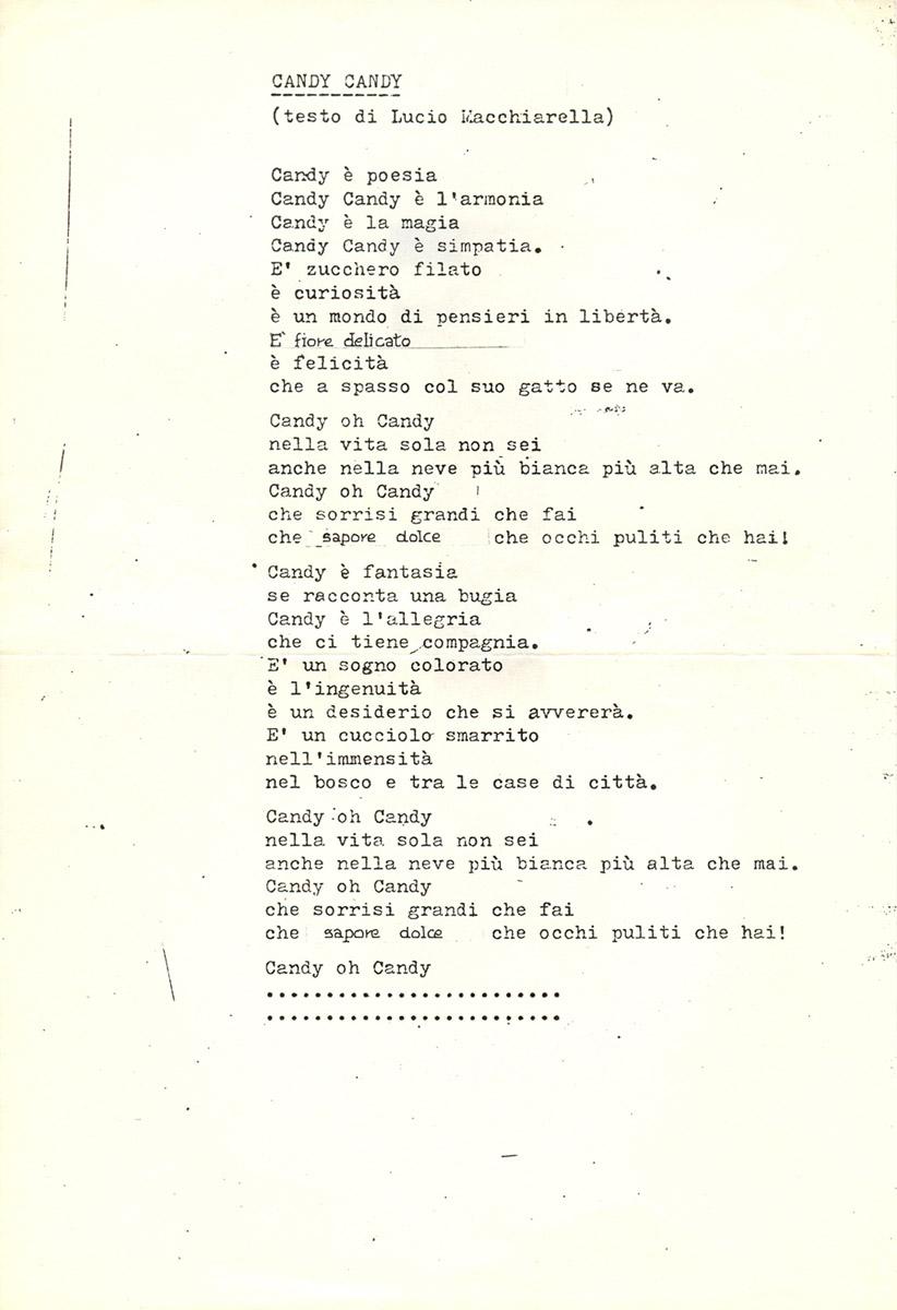 Dattiloscritto originale del testo definitivo di Candy Candy