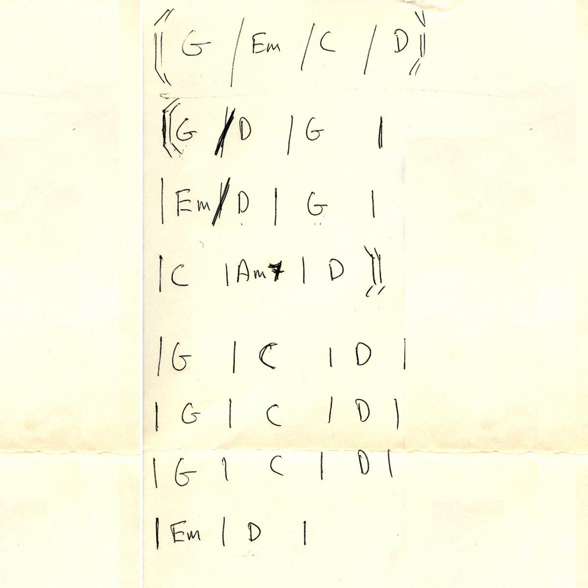 Accordi autografi di Dougie per il provino dell'Isola del Tesoro realizzato a casa di Lucio