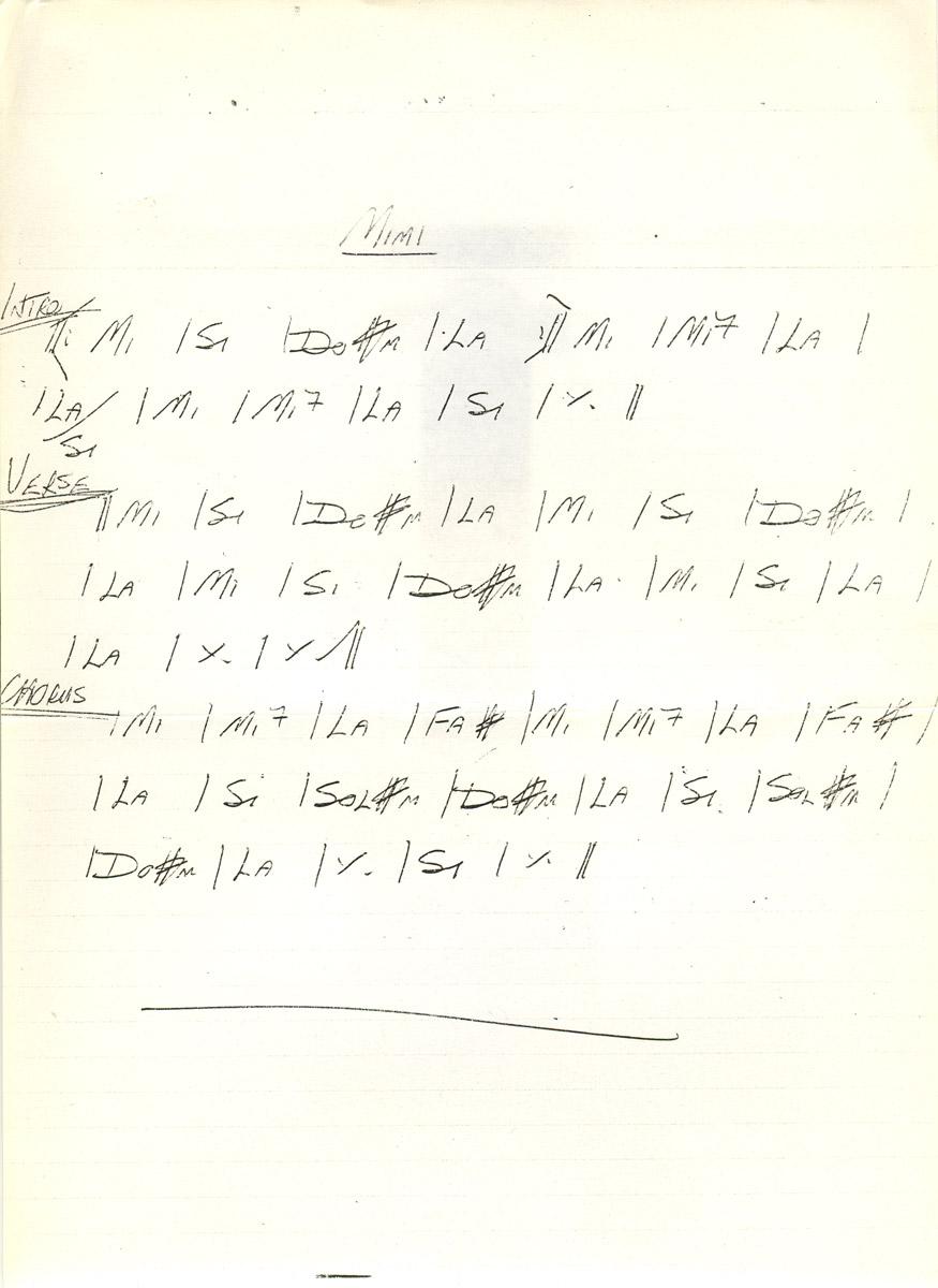 Accordi autografi di Mike Fraser per la realizzazione in studio di Mimì