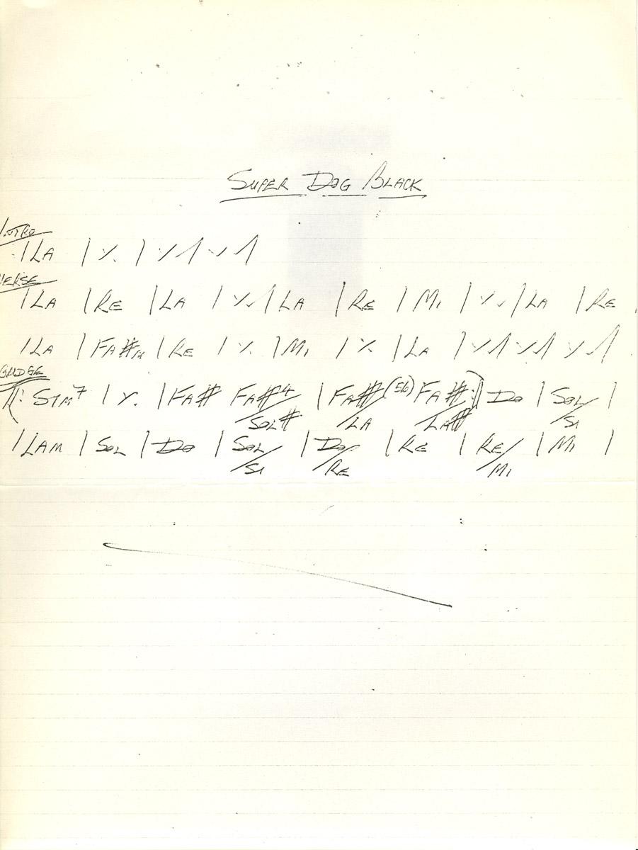 Accordi autografi di Mike Fraser per la realizzazione in studio di Super Dog Black