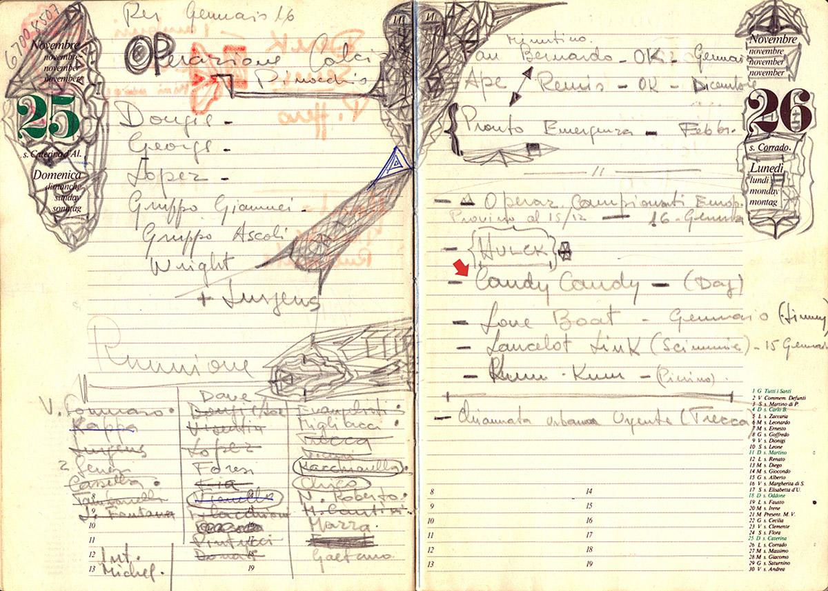 26 novembre 1979 - Candy Candy (di Dougie e Mike) appare per la prima volta sull'agenda di lavoro di Olimpio