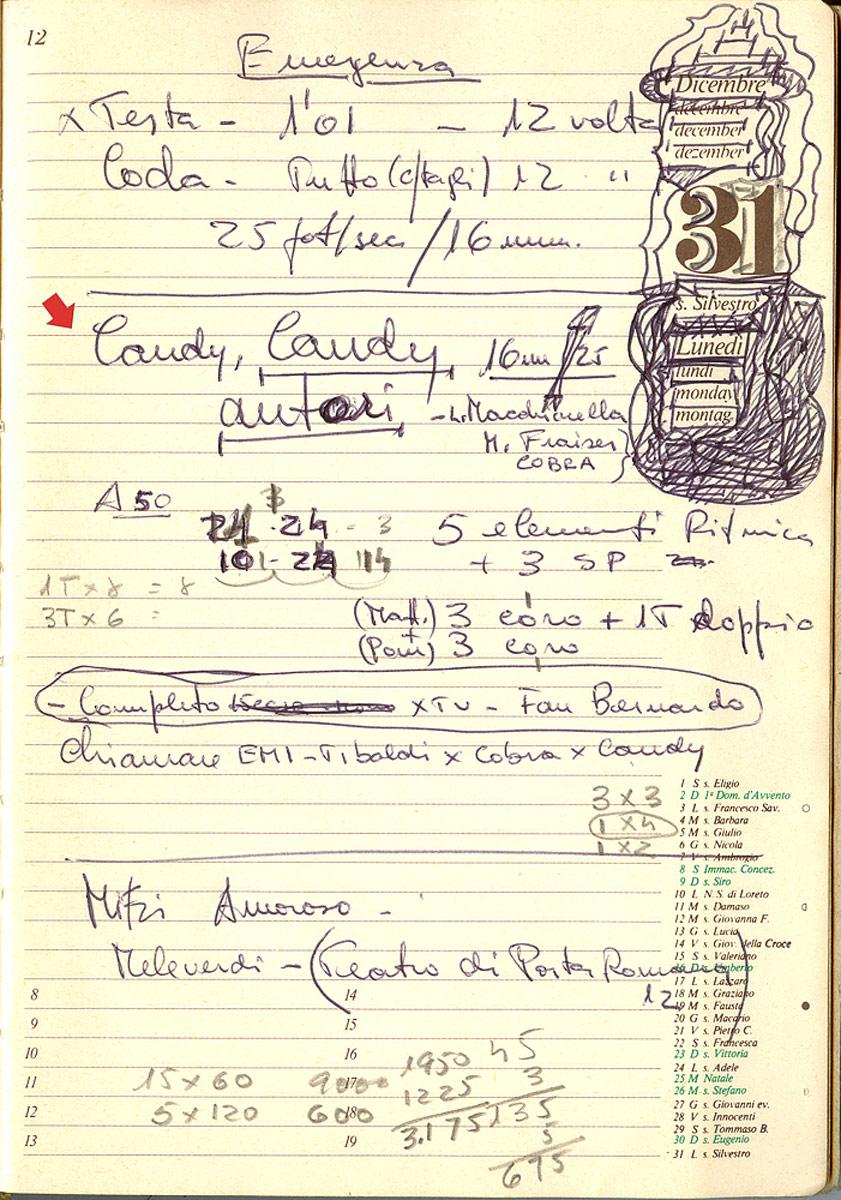 È il 31 dicembre - Candy Candy è stata registrata e Olimpio appunta i nomi degli autori per la Siae e per l'etichetta del 45 giri