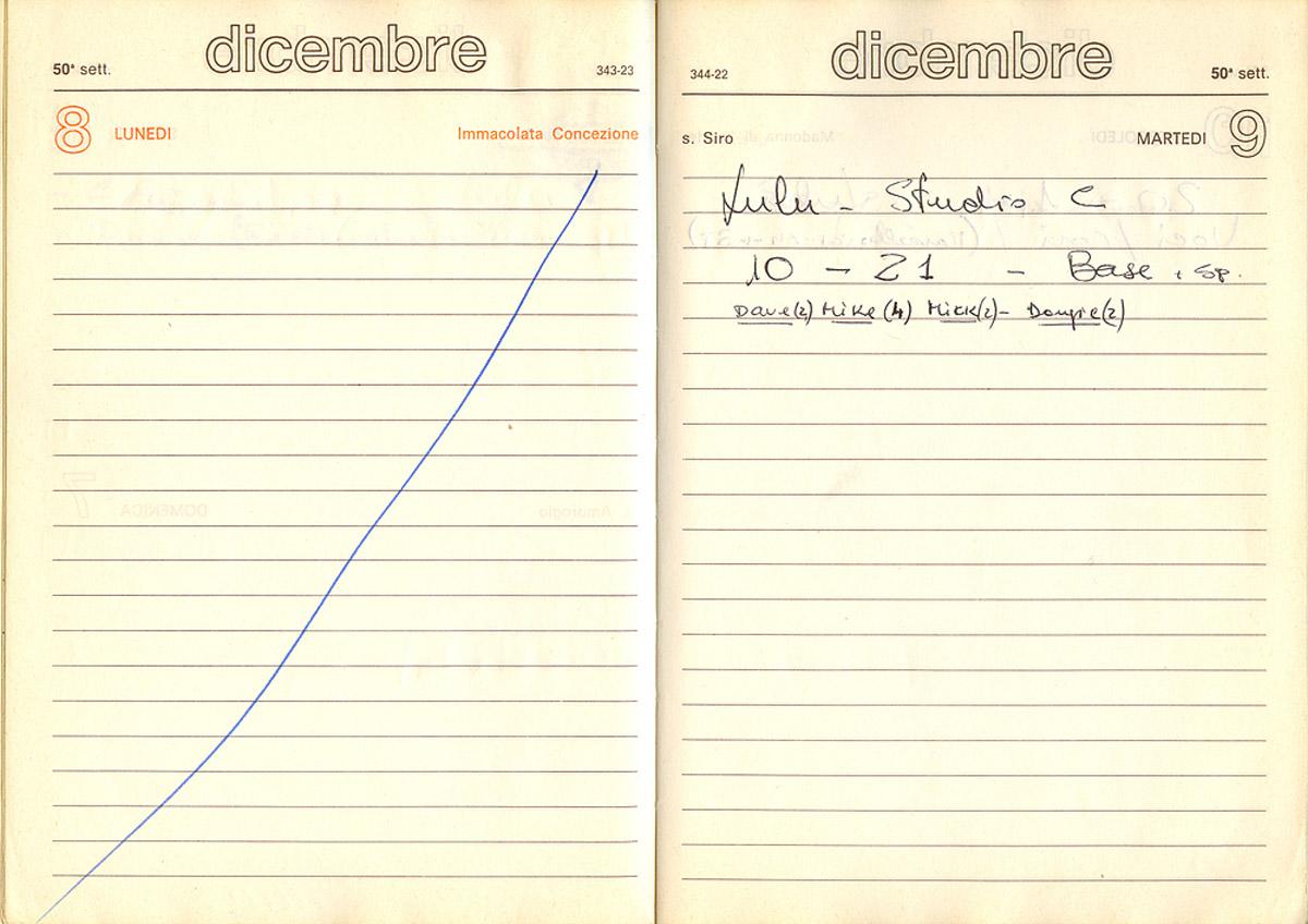 Primo giorno di registrazione di Lulù l'angelo dei fiori - 9 dicembre 1980