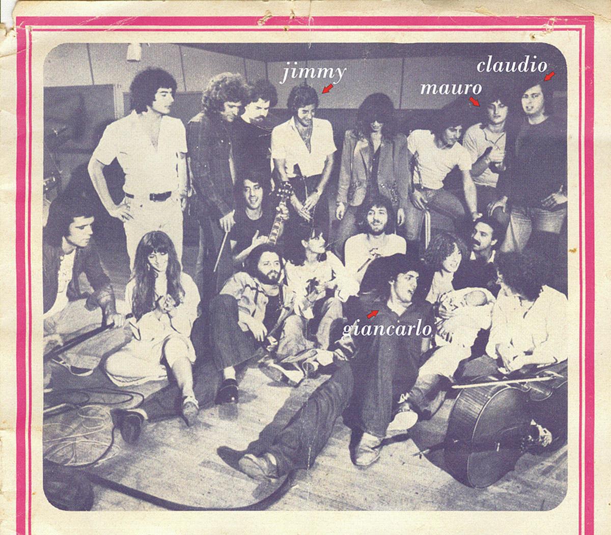 Anni 70 - Jimmy con Mauro, Claudio e Giancarlo Balestra negli studi RCA con i Pandemonium