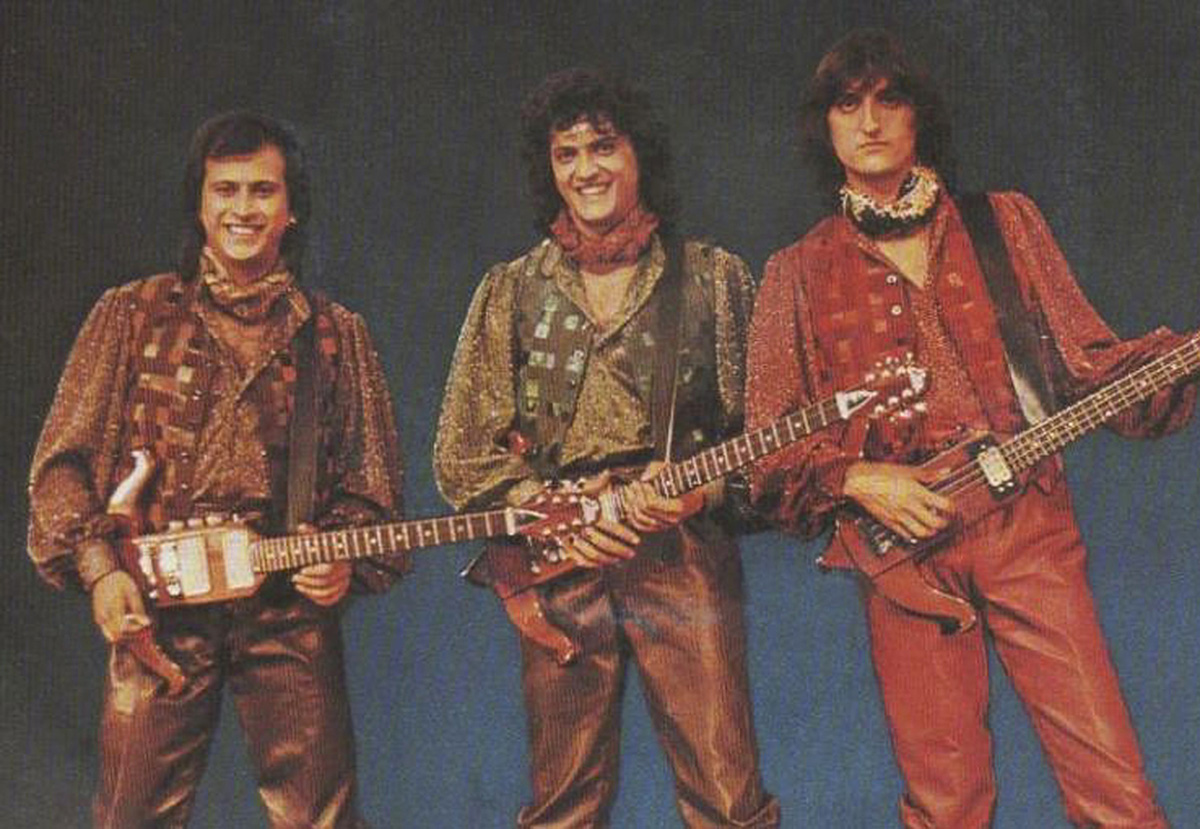 1980 - I fratelli Balestra (Claudio, Giancarlo e Mauro) con le originalissime chitarre a forma di balestra