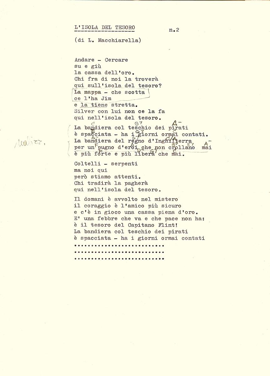 Dattiloscritto del testo di un brano composto da Lucio (musica e parole) per la sigla dell'Isola del Tesoro