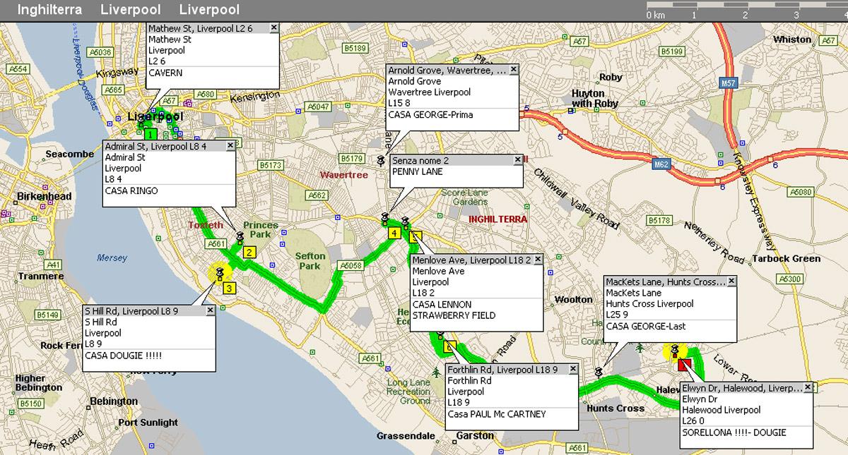 Le case dei Beatles e di Dougie nella piantina di Liverpool elaborata da Olimpio