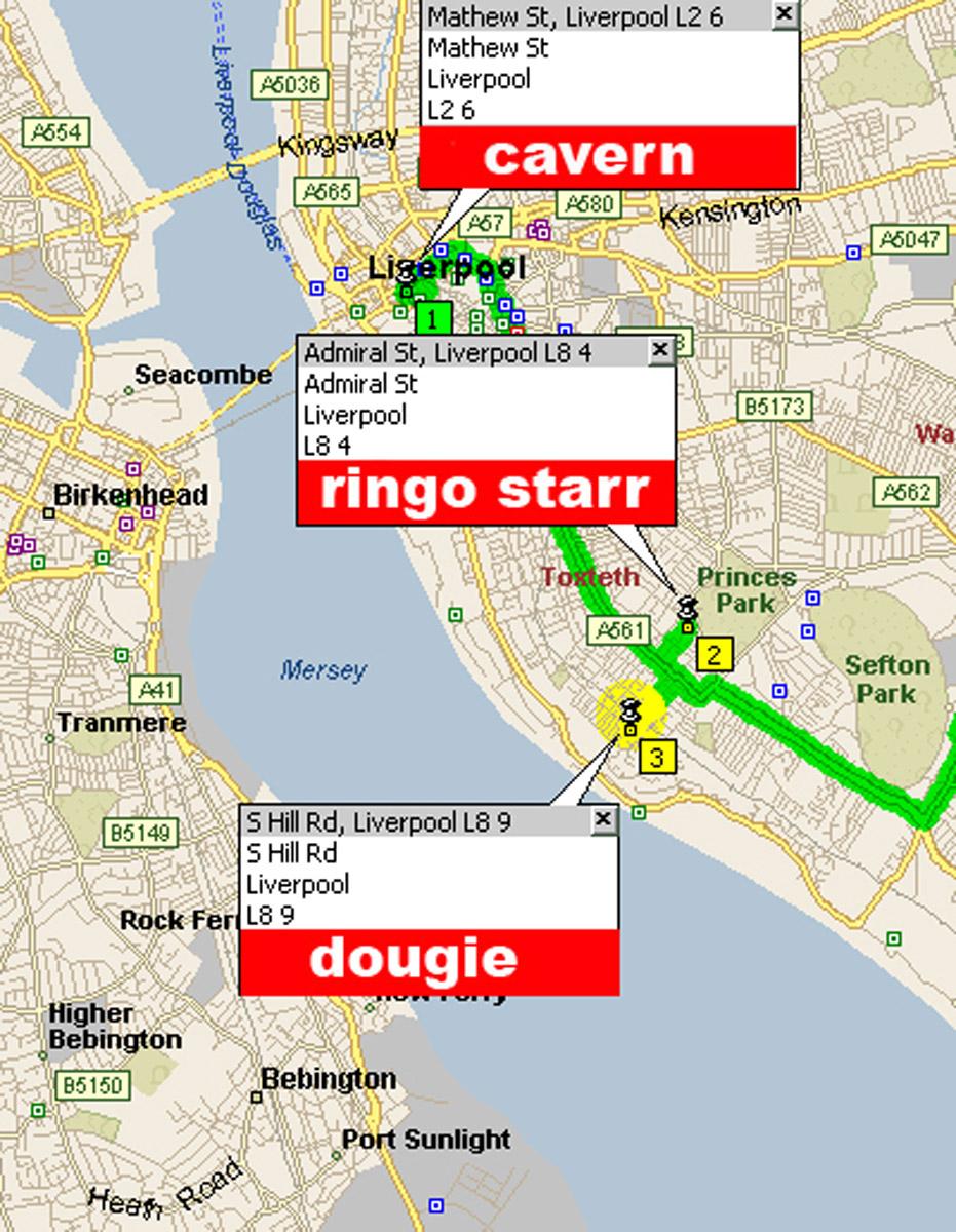 Il Cavern e le abitazioni di Ringo e Dougie in un'altra piantina disegnata da Olimpio