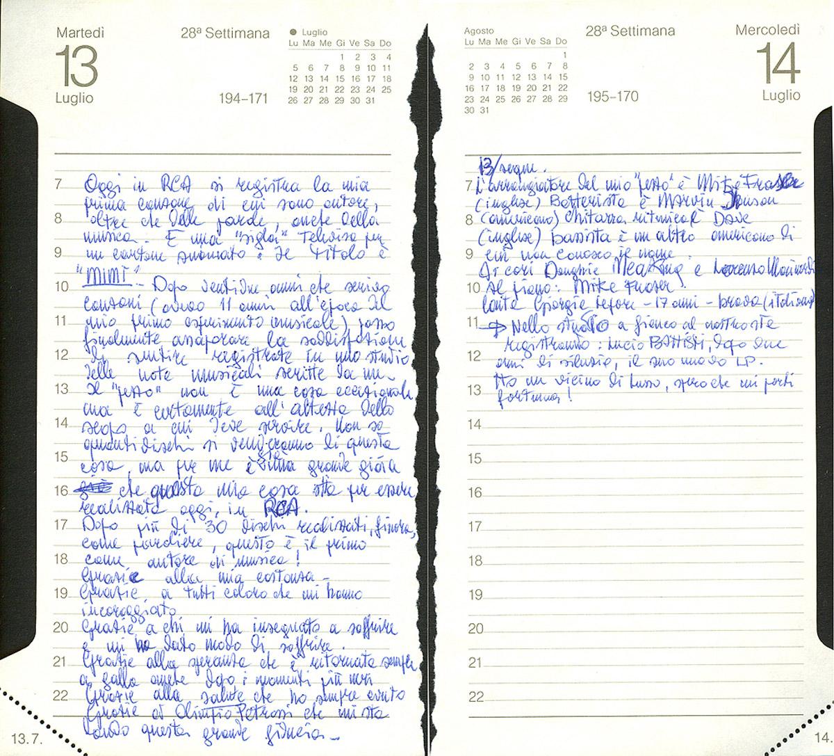Pagine dell'agenda di Lucio che raccontano della registrazione di Mimì