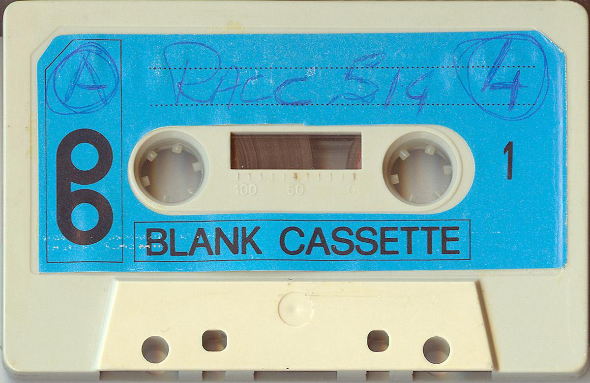 Una delle cassette di Olimpio con i provini delle sigle