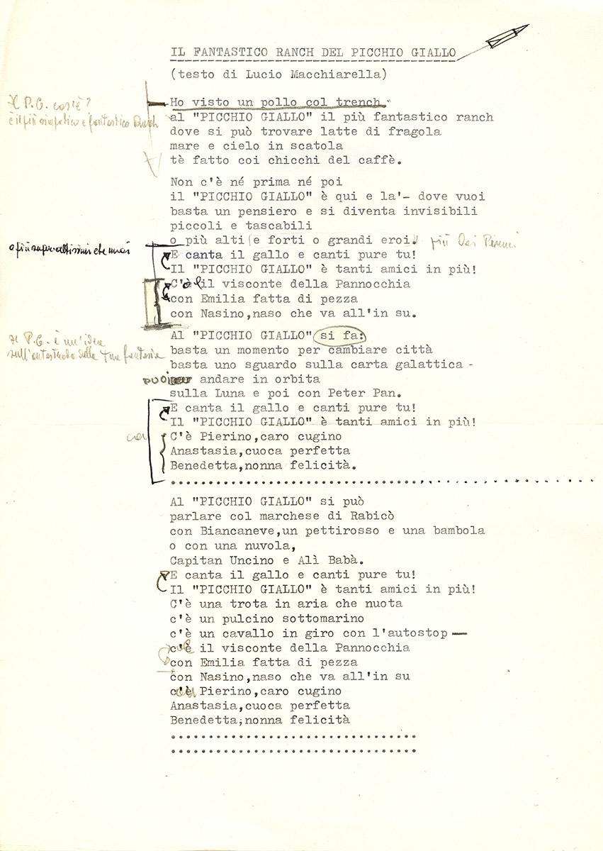 Dattiloscritto originale con correzioni del Fantastico Ranch del Picchio Giallo