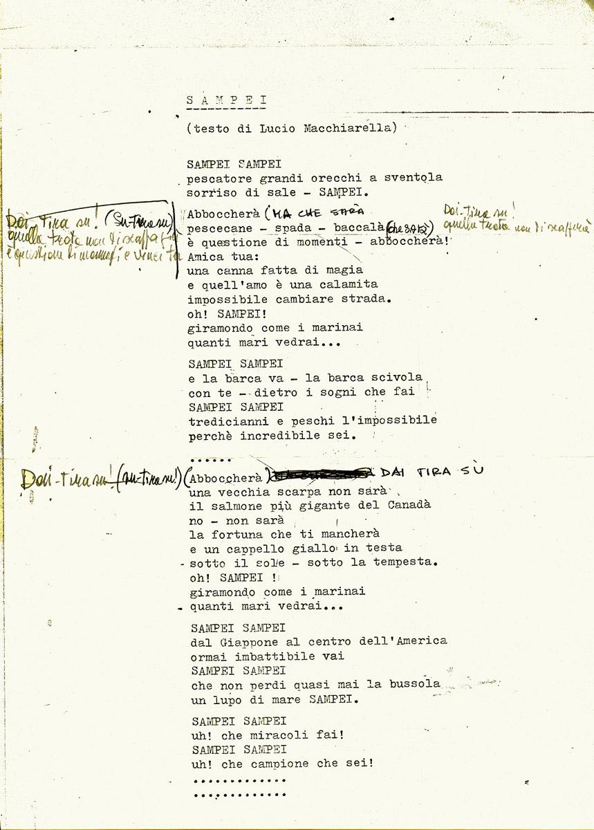 Sampei, dattiloscritto originale e correzioni