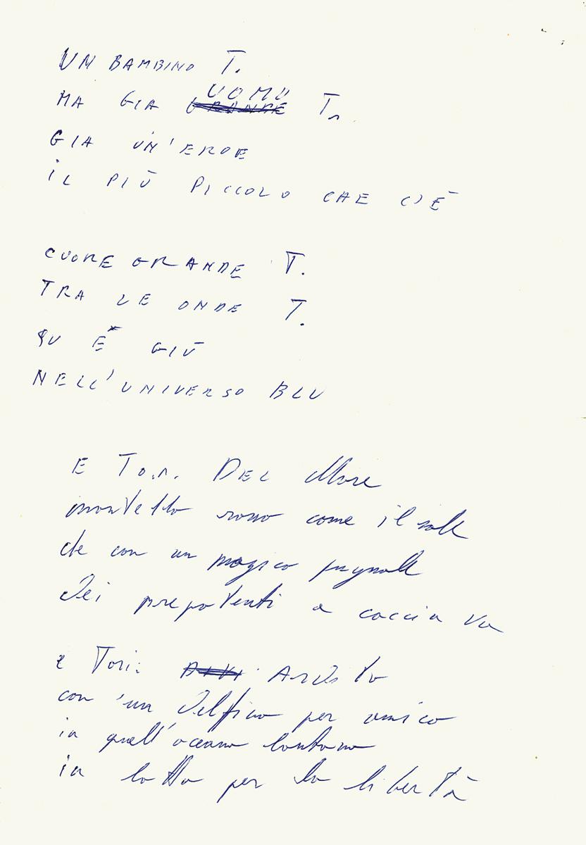 Parte del testo di Toriton scritto da Jimmy sotto dettatura di Lucio al telefono