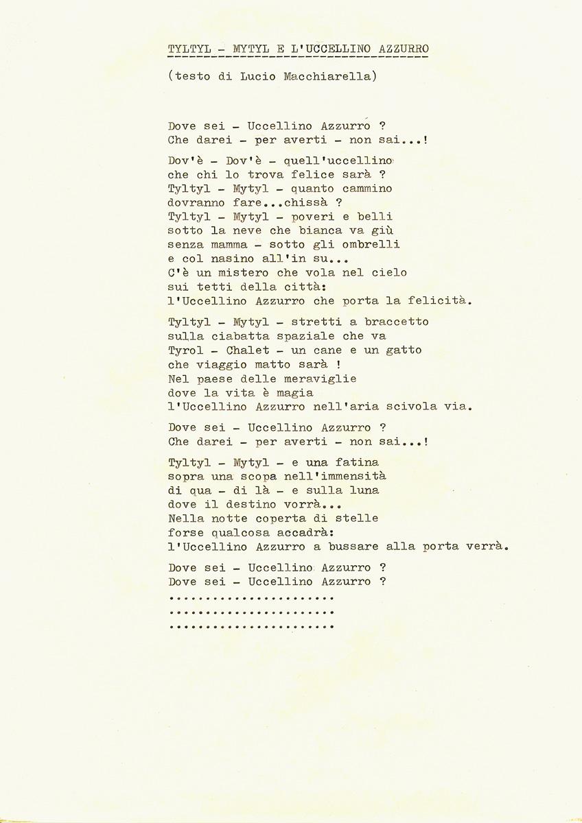 Dattiloscritto originale del testo di Tyltyl, Mytyl e l'Uccellino Azzurro